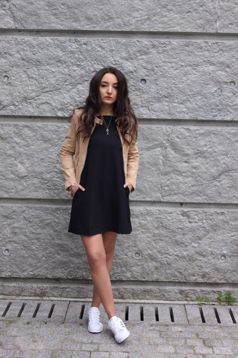 ZIP LEATHER JACKET & OFF-SHOULDER DRESS