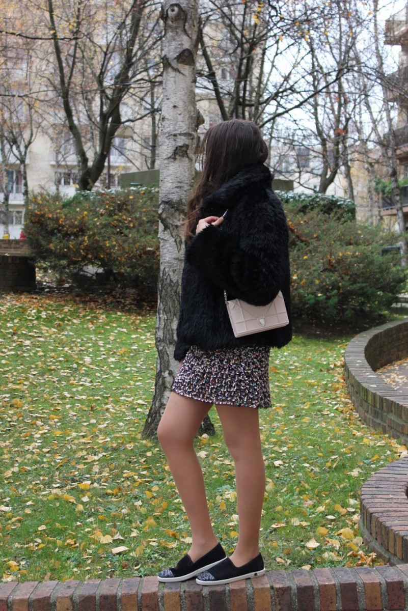 SEQUIN EMBROIDERED DRESS & LAPELS FAUX FUR COAT